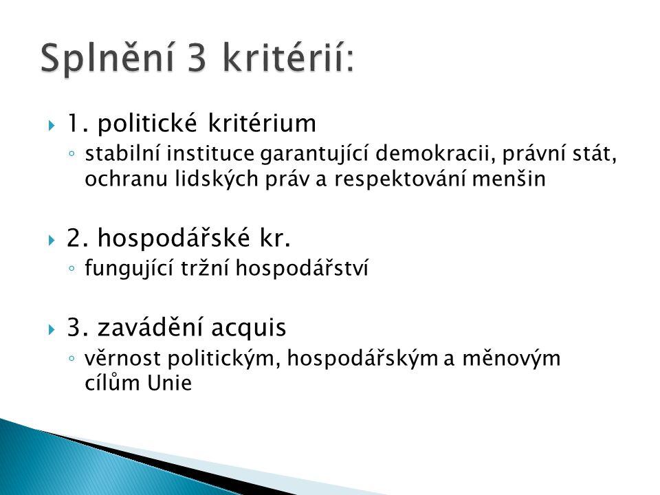  1. politické kritérium ◦ stabilní instituce garantující demokracii, právní stát, ochranu lidských práv a respektování menšin  2. hospodářské kr. ◦