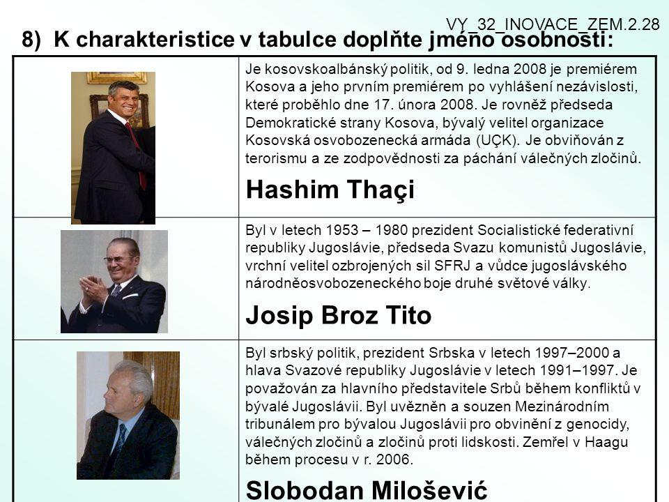 8) K charakteristice v tabulce doplňte jméno osobnosti: Je kosovskoalbánský politik, od 9.
