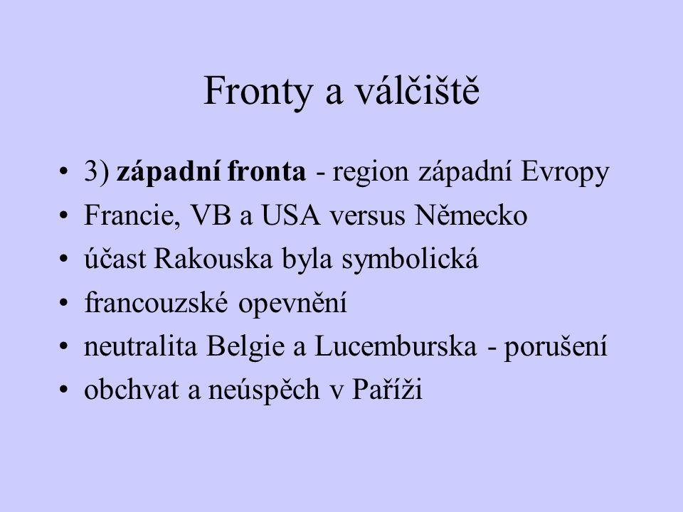 Fronty a válčiště 2) východní fronta - Rusko versus Rakousko - Uhersko a) první fáze: špatné materiální vybavení Rusů, ale vyšší početní stavy armády
