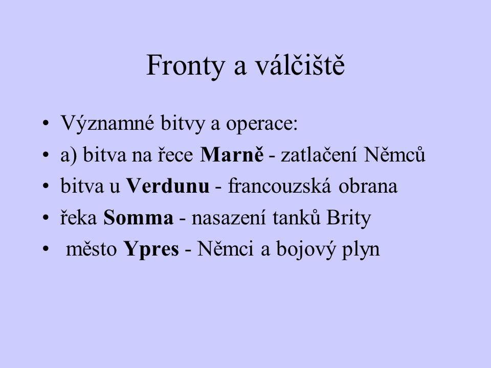 Fronty a válčiště 3) západní fronta - region západní Evropy Francie, VB a USA versus Německo účast Rakouska byla symbolická francouzské opevnění neutr