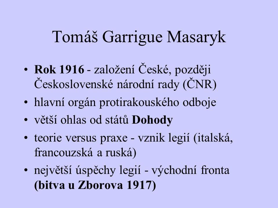 Tomáš Garrigue Masaryk Pozvolný nárůst pochopení Masarykovy politiky u světových velmocí rusofil Dürich - Masarykovy potíže personální posílení odboje