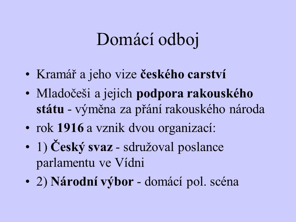 Tomáš Garrigue Masaryk Rok 1916 - založení České, později Československé národní rady (ČNR) hlavní orgán protirakouského odboje větší ohlas od států D