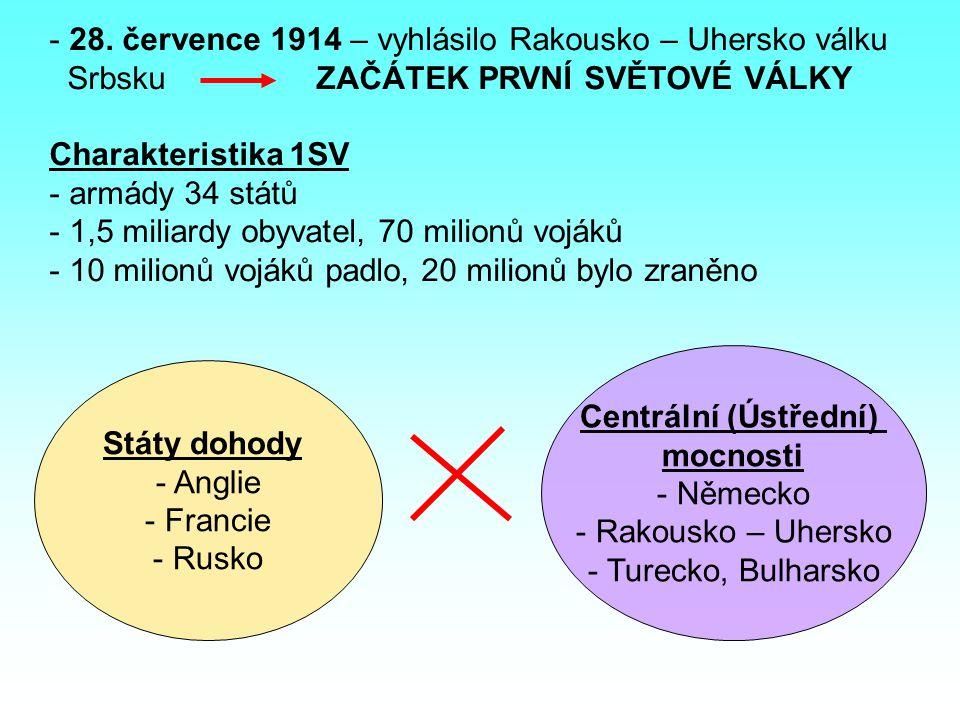 Vylušti tajenku: _________________ 1) Hlavní město Bosny a Hercegoviny 2) Mezi dohodové státy patřila Anglie, Rusko a …., 3) Vojensko politická aliance Německa, Rakouska-Uherska a Itálie 4) Doplň celé jméno Rakouského následníka trůnu: František ….5) Který stát se přidal společně s Bulharskem na stranu Centrálních mocností.