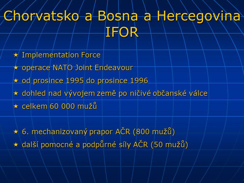  Stabilization Force  operace NATO Joint Guard a Joint Forge  od prosince 1996 do prosince 2004  přímá náhrada a bezprostřední nástupce IFOR  počet vojáků postupně klesal z 35 000 na 7000 mužů  od prosince 1996 do prosince 2001 fungoval v sestavě SFOR 6.