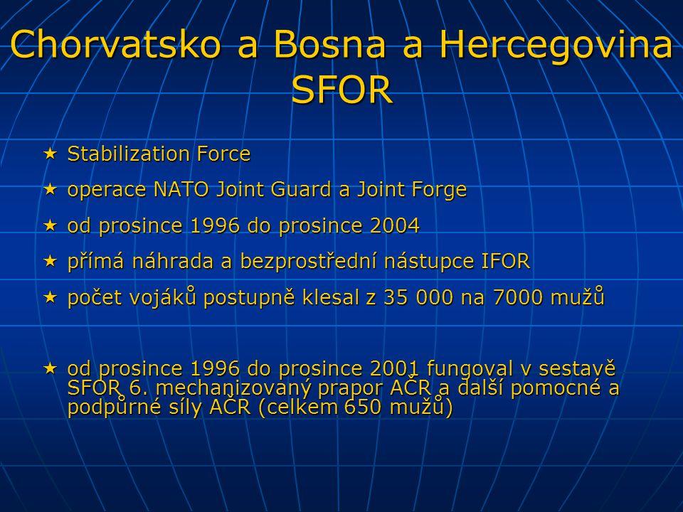  United Nations Mission in Bosnia and Herzegovina  pozorovatelská mise OSN v Bosně a Hercegovině  dohled na příměří od prosince 1995 do prosince 2002  celkem 2000 mužů, mezi nimi 5 pozorovatelů AČR  United Nations Mission of Observers in Prevlaka  pozorovatelská mise OSN na poloostrově Prevlaka mezi Chorvatskem a Srbskem  dohled na demilitarizaci od února 1996 do prosince 2002  celkem 37 mužů, mezi nimi 1 pozorovatel AČR Pozorovatelské mise UNMIBH a UNMOP