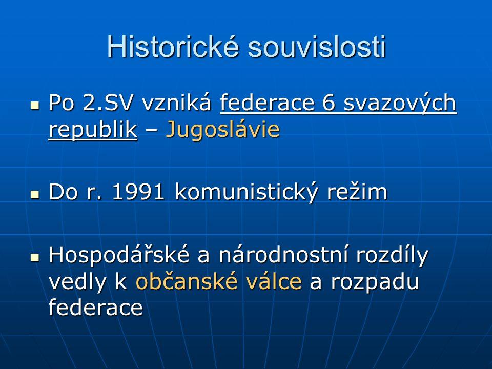 Historické souvislosti Po 2.SV vzniká federace 6 svazových republik – Jugoslávie Po 2.SV vzniká federace 6 svazových republik – Jugoslávie Do r. 1991