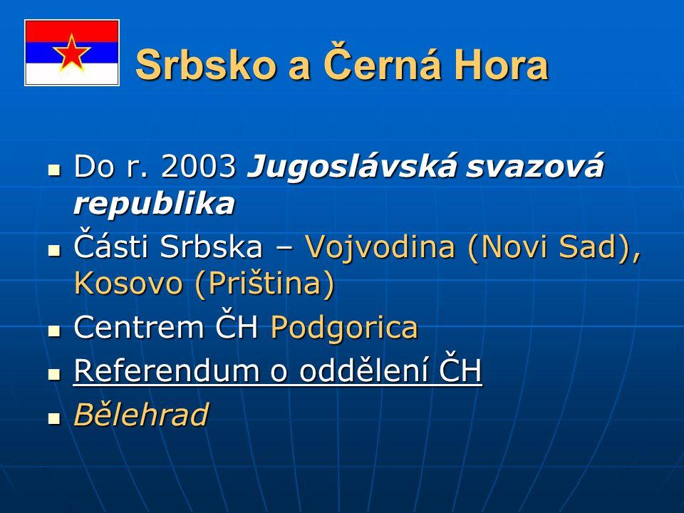 Srbsko a Černá Hora Do r. 2003 Jugoslávská svazová republika Do r. 2003 Jugoslávská svazová republika Části Srbska – Vojvodina (Novi Sad), Kosovo (Pri