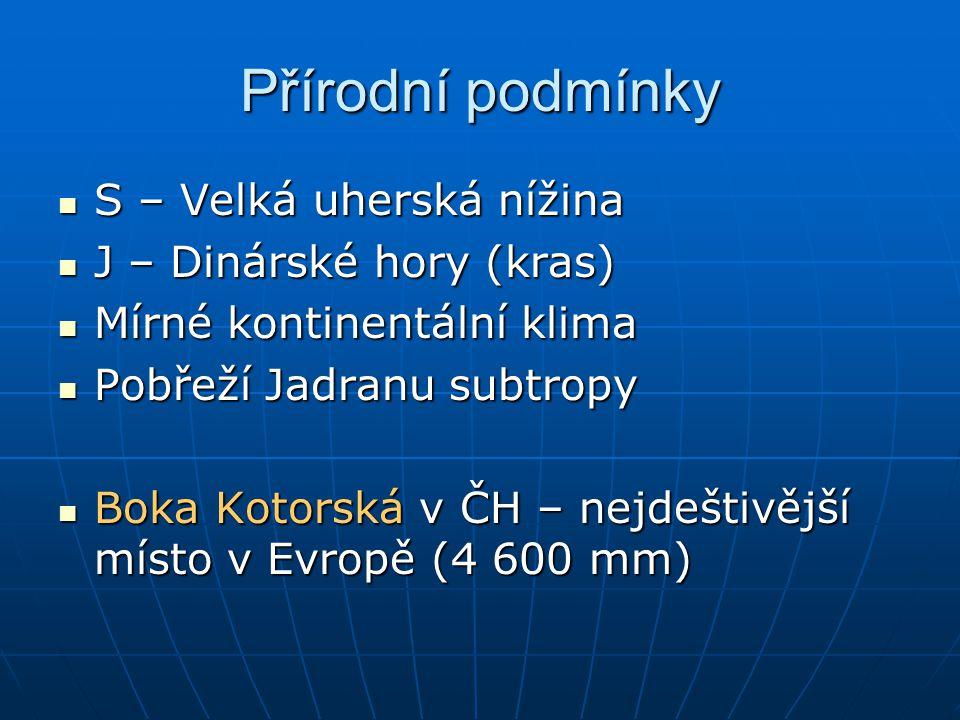 Přírodní podmínky S – Velká uherská nížina S – Velká uherská nížina J – Dinárské hory (kras) J – Dinárské hory (kras) Mírné kontinentální klima Mírné