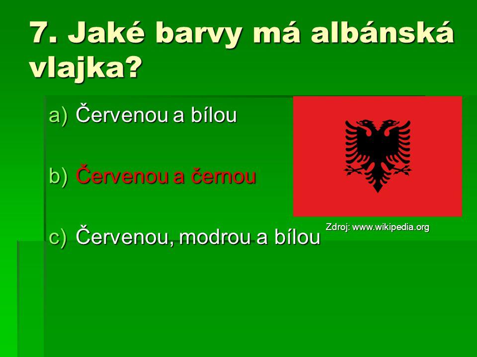 7.Jaké barvy má albánská vlajka.