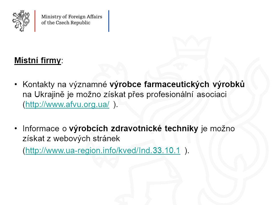 Místní firmy: Kontakty na významné výrobce farmaceutických výrobků na Ukrajině je možno získat přes profesionální asociaci (http://www.afvu.org.ua/ ).http://www.afvu.org.ua/ Informace o výrobcích zdravotnické techniky je možno získat z webových stránek (http://www.ua-region.info/kved/Ind.33.10.1 ).http://www.ua-region.info/kved/Ind.33.10.1