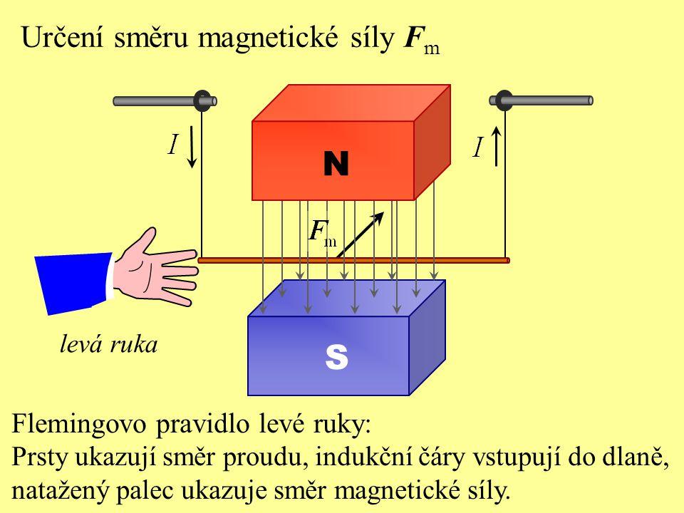 Určení směru magnetické síly F m S N Flemingovo pravidlo levé ruky: Prsty ukazují směr proudu, indukční čáry vstupují do dlaně, natažený palec ukazuje