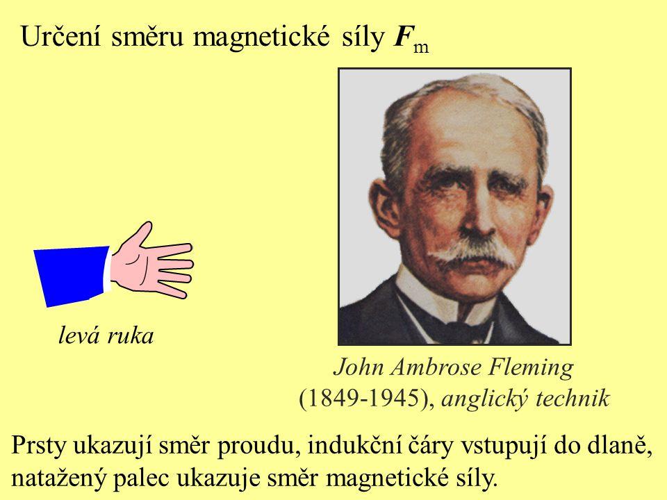 Určení směru magnetické síly F m Prsty ukazují směr proudu, indukční čáry vstupují do dlaně, natažený palec ukazuje směr magnetické síly.