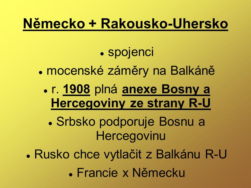 Německo + Rakousko-Uhersko spojenci mocenské záměry na Balkáně r. 1908 plná anexe Bosny a Hercegoviny ze strany R-U Srbsko podporuje Bosnu a Hercegovi