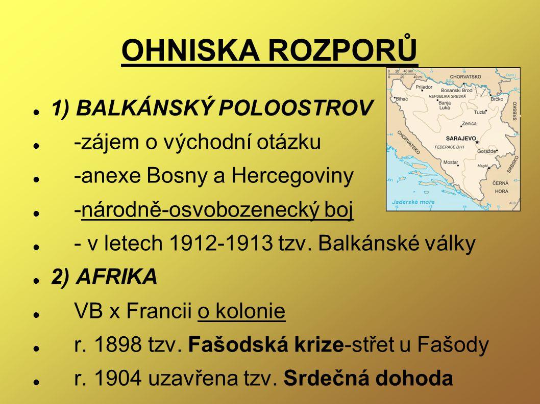 OHNISKA ROZPORŮ 1) BALKÁNSKÝ POLOOSTROV -zájem o východní otázku -anexe Bosny a Hercegoviny -národně-osvobozenecký boj - v letech 1912-1913 tzv. Balká