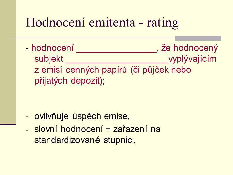 Hodnocení emitenta - rating - hodnocení, že hodnocený subjekt vyplývajícím z emisí cenných papírů (či půjček nebo přijatých depozit); - ovlivňuje úspě