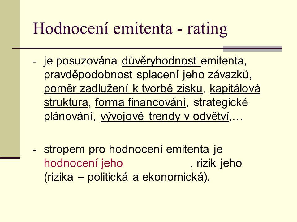 Hodnocení emitenta - rating - je posuzována důvěryhodnost emitenta, pravděpodobnost splacení jeho závazků, poměr zadlužení k tvorbě zisku, kapitálová