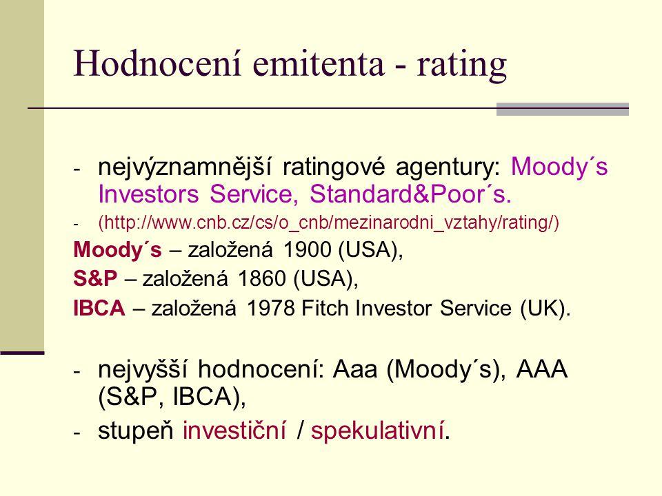 Hodnocení emitenta - rating - nejvýznamnější ratingové agentury: Moody´s Investors Service, Standard&Poor´s. - (http://www.cnb.cz/cs/o_cnb/mezinarodni