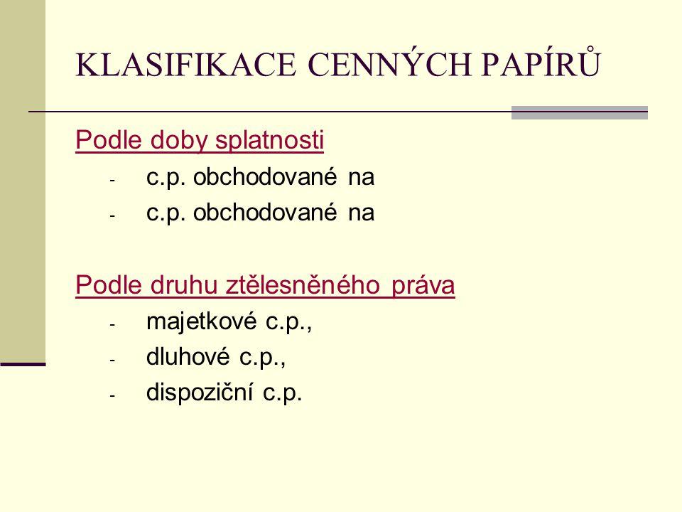 KLASIFIKACE CENNÝCH PAPÍRŮ Podle doby splatnosti - c.p. obchodované na Podle druhu ztělesněného práva - majetkové c.p., - dluhové c.p., - dispoziční c
