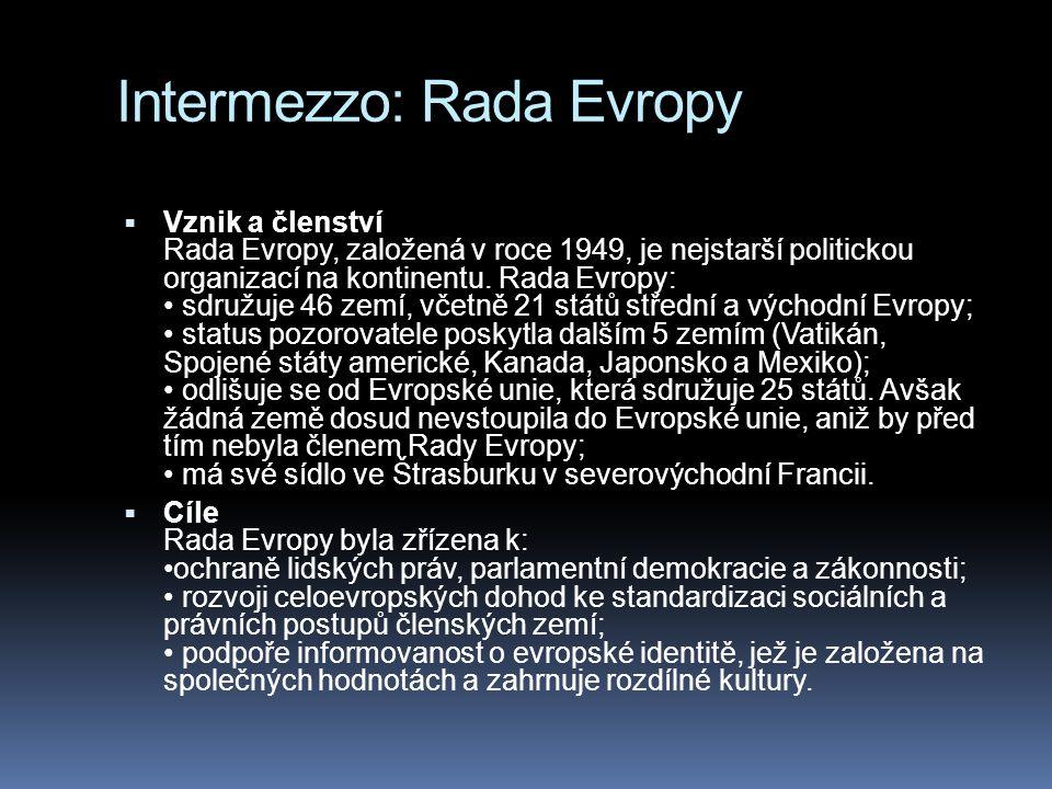 Intermezzo: Rada Evropy  Vznik a členství Rada Evropy, založená v roce 1949, je nejstarší politickou organizací na kontinentu.