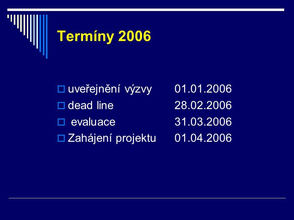 Termíny 2006  uveřejnění výzvy 01.01.2006  dead line 28.02.2006  evaluace 31.03.2006  Zahájení projektu01.04.2006