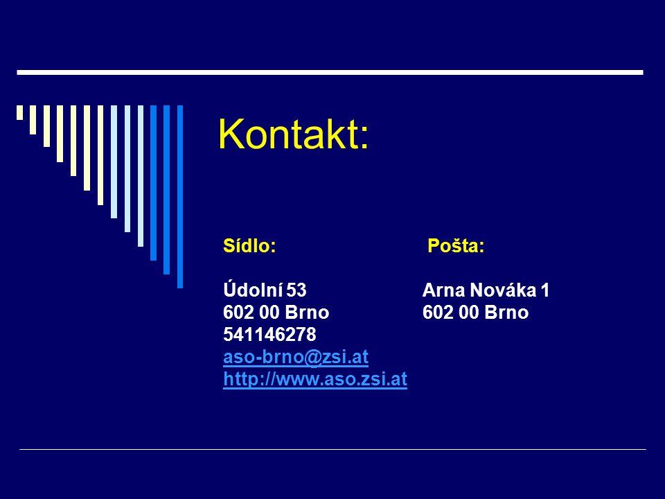 Kontakt: Sídlo: Pošta: Údolní 53Arna Nováka 1602 00 Brno 541146278 aso-brno@zsi.at http://www.aso.zsi.at