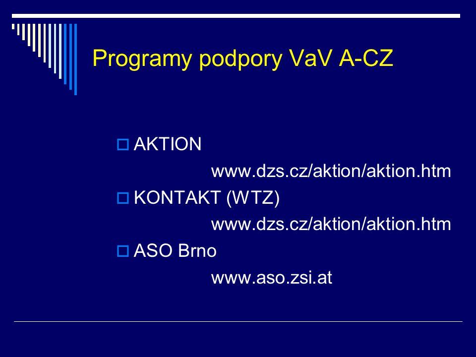 Programy podpory VaV A-CZ  AKTION www.dzs.cz/aktion/aktion.htm  KONTAKT (WTZ) www.dzs.cz/aktion/aktion.htm  ASO Brno www.aso.zsi.at