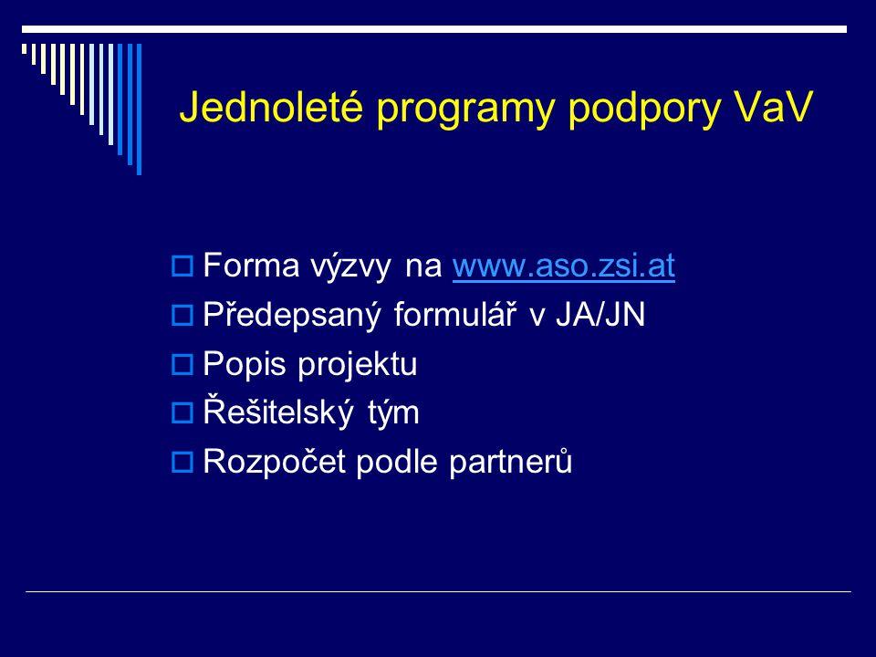 Jednoleté programy podpory VaV  Forma výzvy na www.aso.zsi.atwww.aso.zsi.at  Předepsaný formulář v JA/JN  Popis projektu  Řešitelský tým  Rozpočet podle partnerů