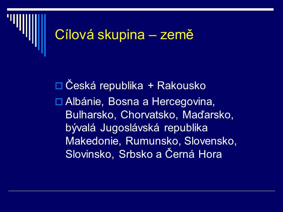 Cílová skupina – země  Česká republika + Rakousko  Albánie, Bosna a Hercegovina, Bulharsko, Chorvatsko, Maďarsko, bývalá Jugoslávská republika Makedonie, Rumunsko, Slovensko, Slovinsko, Srbsko a Černá Hora
