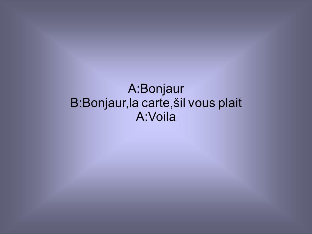 Salut-ahoj Bonjaur-dobrý den Merci-děkuji Voila-tady máte Crépes-palačinka Glace- zmrzlina Champagne-šampaňské Mouse au chocolate-čokoládová pěna Maca