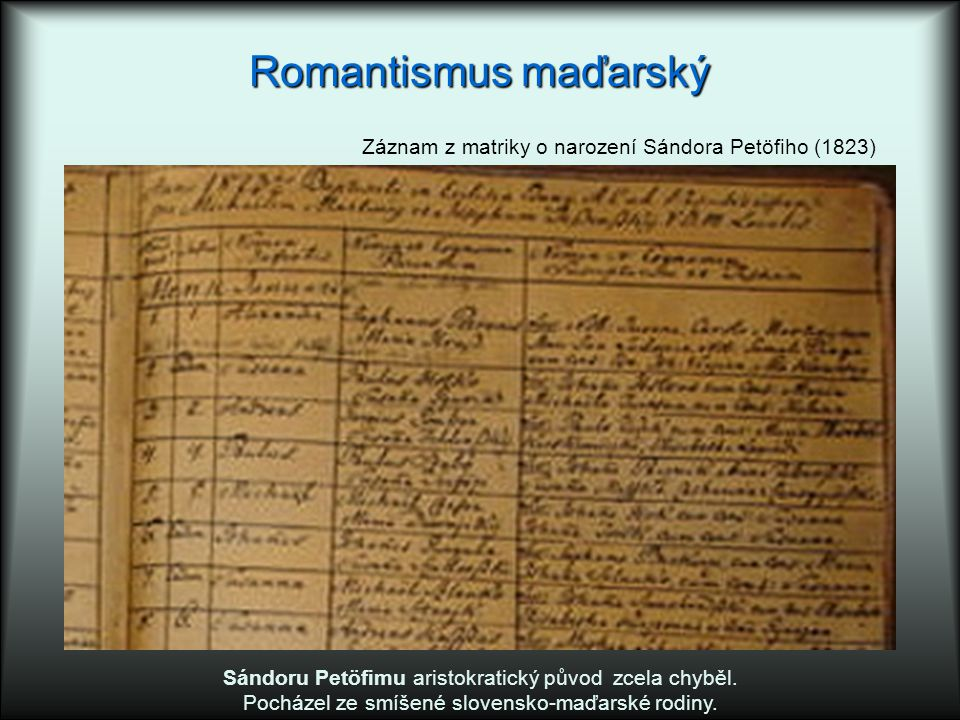 Romantismus maďarský Sándoru Petöfimu aristokratický původ zcela chyběl. Pocházel ze smíšené slovensko-maďarské rodiny. Záznam z matriky o narození Sá