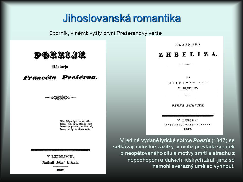 Jihoslovanská romantika V jediné vydané lyrické sbírce Poezie (1847) se setkávají milostné zážitky, v nichž převládá smutek z neopětovaného citu a motivy smrti a strachu z nepochopení a dalších lidských ztrát, jimž se nemohl svérázný umělec vyhnout.