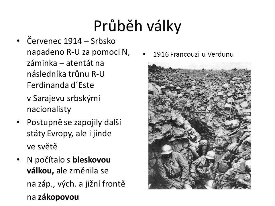 Průběh války Červenec 1914 – Srbsko napadeno R-U za pomoci N, záminka – atentát na následníka trůnu R-U Ferdinanda d´Este v Sarajevu srbskými nacionalisty Postupně se zapojily další státy Evropy, ale i jinde ve světě N počítalo s bleskovou válkou, ale změnila se na záp., vých.