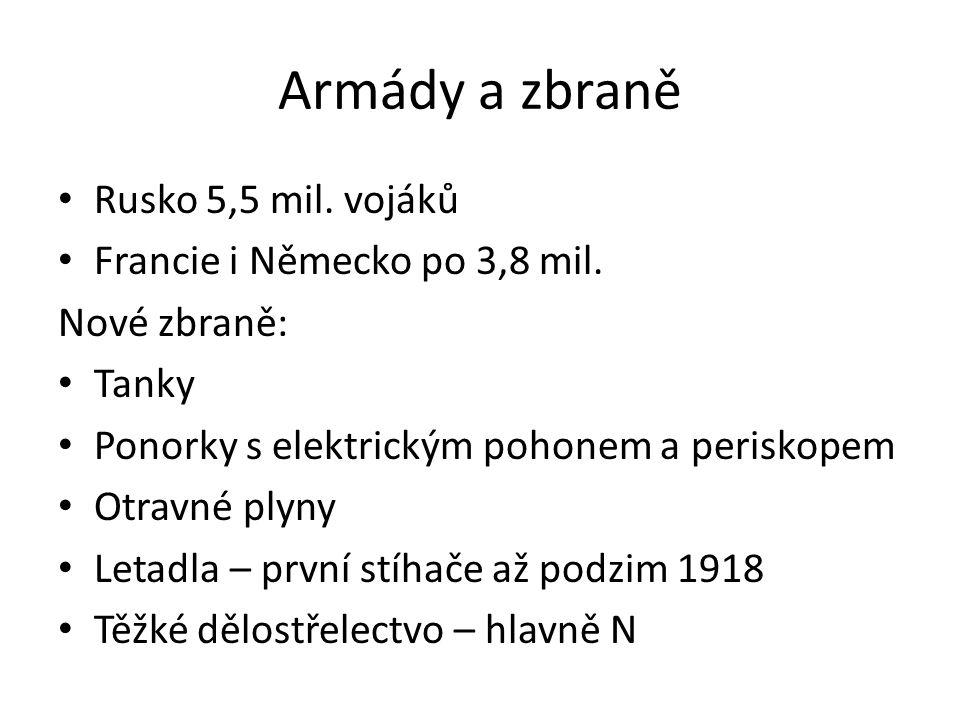 Armády a zbraně Rusko 5,5 mil.vojáků Francie i Německo po 3,8 mil.