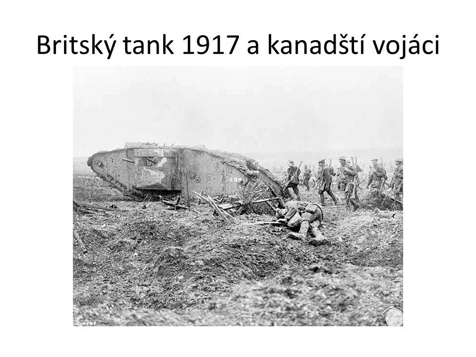 Britský tank 1917 a kanadští vojáci