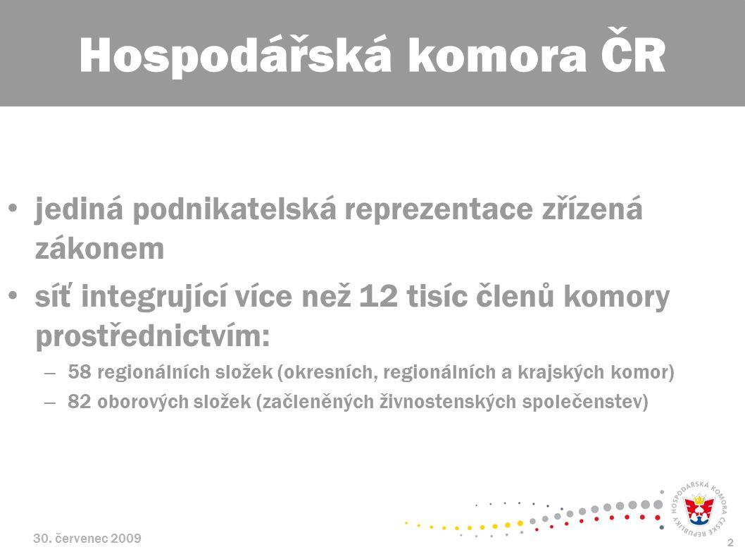 30. červenec 2009 2 jediná podnikatelská reprezentace zřízená zákonem síť integrující více než 12 tisíc členů komory prostřednictvím: – 58 regionálníc