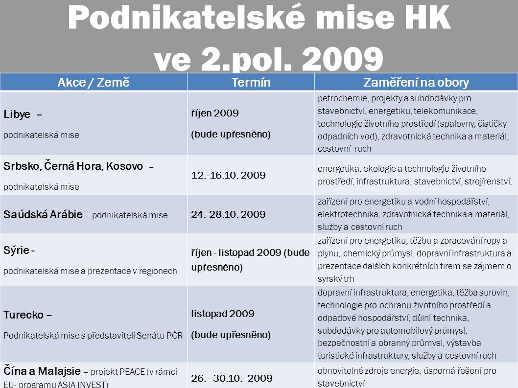 30. červenec 2009 6 Podnikatelské mise HK ve 2.pol.
