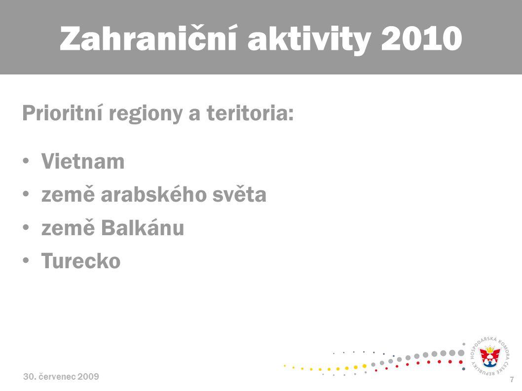 30. červenec 2009 7 Prioritní regiony a teritoria: Vietnam země arabského světa země Balkánu Turecko Zahraniční aktivity 2010