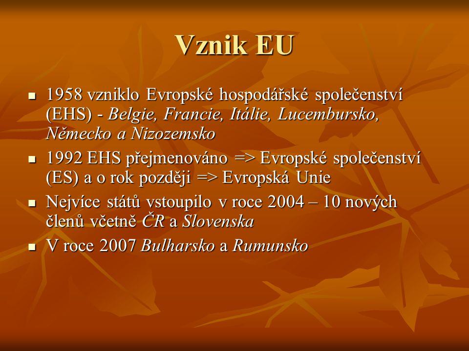 Vznik EU 1958 vzniklo Evropské hospodářské společenství (EHS) - Belgie, Francie, Itálie, Lucembursko, Německo a Nizozemsko 1958 vzniklo Evropské hospodářské společenství (EHS) - Belgie, Francie, Itálie, Lucembursko, Německo a Nizozemsko 1992 EHS přejmenováno => Evropské společenství (ES) a o rok později => Evropská Unie 1992 EHS přejmenováno => Evropské společenství (ES) a o rok později => Evropská Unie Nejvíce států vstoupilo v roce 2004 – 10 nových členů včetně ČR a Slovenska Nejvíce států vstoupilo v roce 2004 – 10 nových členů včetně ČR a Slovenska V roce 2007 Bulharsko a Rumunsko V roce 2007 Bulharsko a Rumunsko