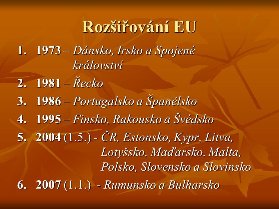 Rozšiřování EU 1.1973 – Dánsko, Irsko a Spojené království 2.1981 – Řecko 3.1986 – Portugalsko a Španělsko 4.1995 – Finsko, Rakousko a Švédsko 5.2004 (1.5.) - ČR, Estonsko, Kypr, Litva, Lotyšsko, Maďarsko, Malta, Polsko, Slovensko a Slovinsko 6.2007 (1.1.) - Rumunsko a Bulharsko