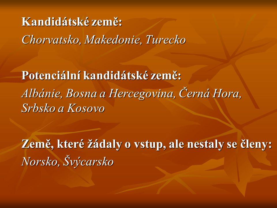Kandidátské země: Chorvatsko, Makedonie, Turecko Potenciální kandidátské země: Albánie, Bosna a Hercegovina, Černá Hora, Srbsko a Kosovo Země, které žádaly o vstup, ale nestaly se členy: Norsko, Švýcarsko