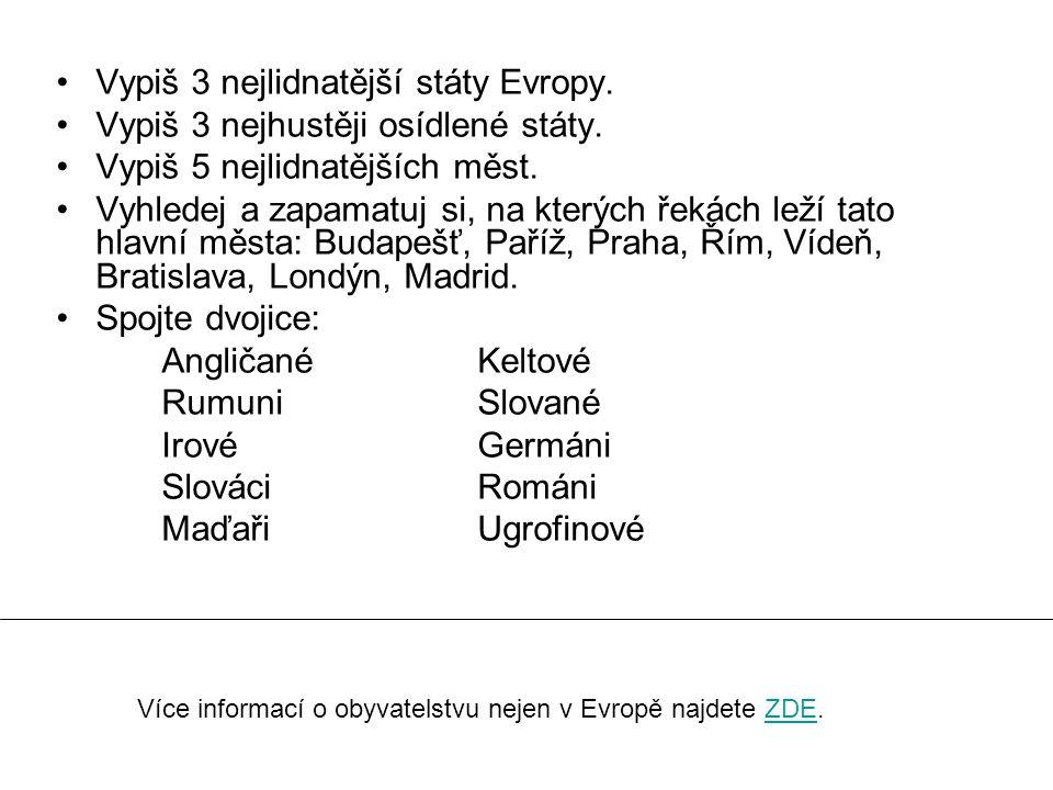Vypiš 3 nejlidnatější státy Evropy. Vypiš 3 nejhustěji osídlené státy. Vypiš 5 nejlidnatějších měst. Vyhledej a zapamatuj si, na kterých řekách leží t