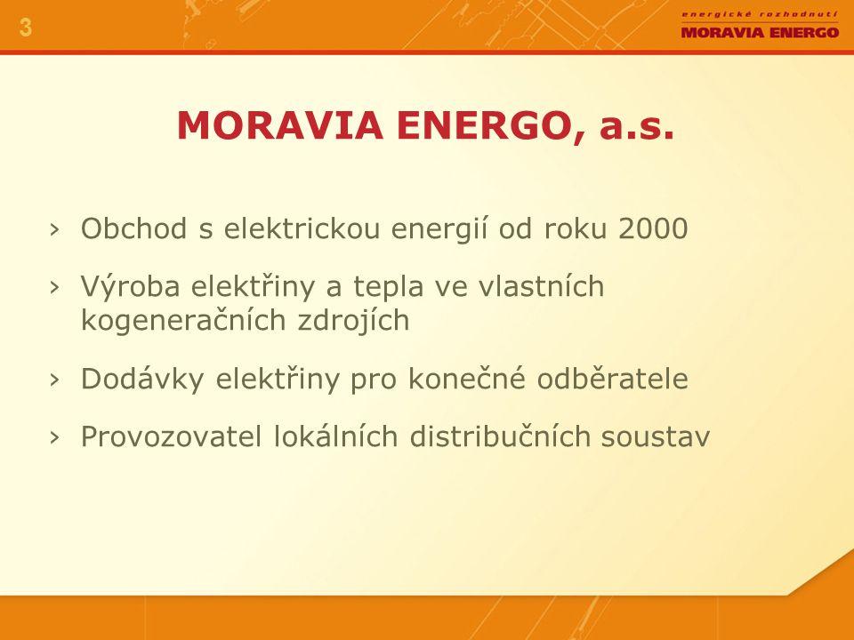›Obchod s elektrickou energií od roku 2000 ›Výroba elektřiny a tepla ve vlastních kogeneračních zdrojích ›Dodávky elektřiny pro konečné odběratele ›Provozovatel lokálních distribučních soustav MORAVIA ENERGO, a.s.