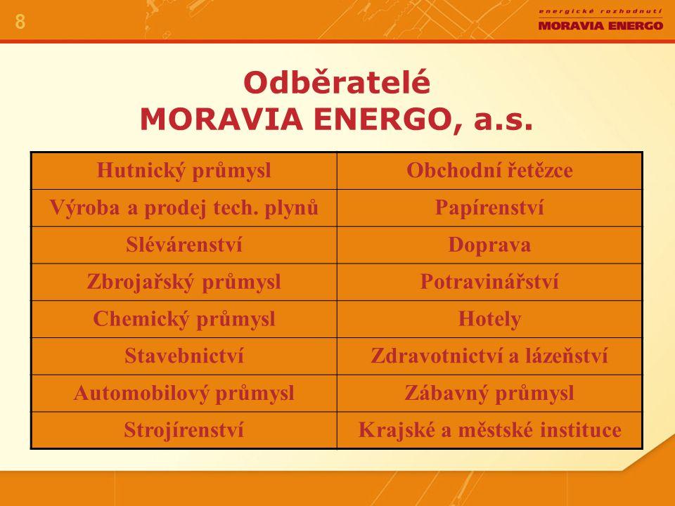 Odběratelé MORAVIA ENERGO, a.s.8 Hutnický průmyslObchodní řetězce Výroba a prodej tech.