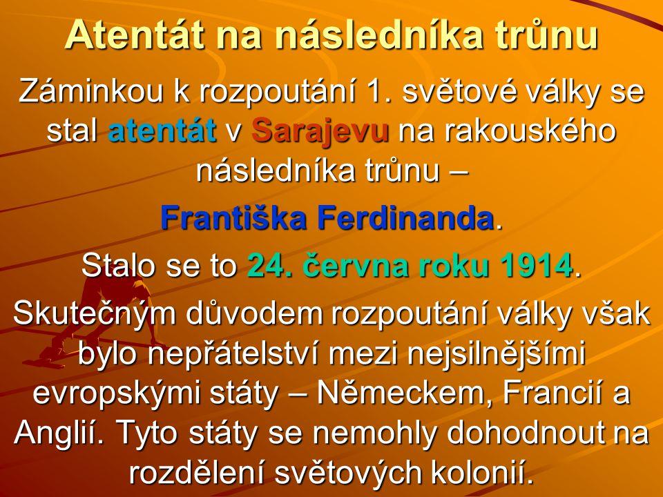 Atentát na následníka trůnu Záminkou k rozpoutání 1. světové války se stal atentát v Sarajevu na rakouského následníka trůnu – Františka Ferdinanda. S