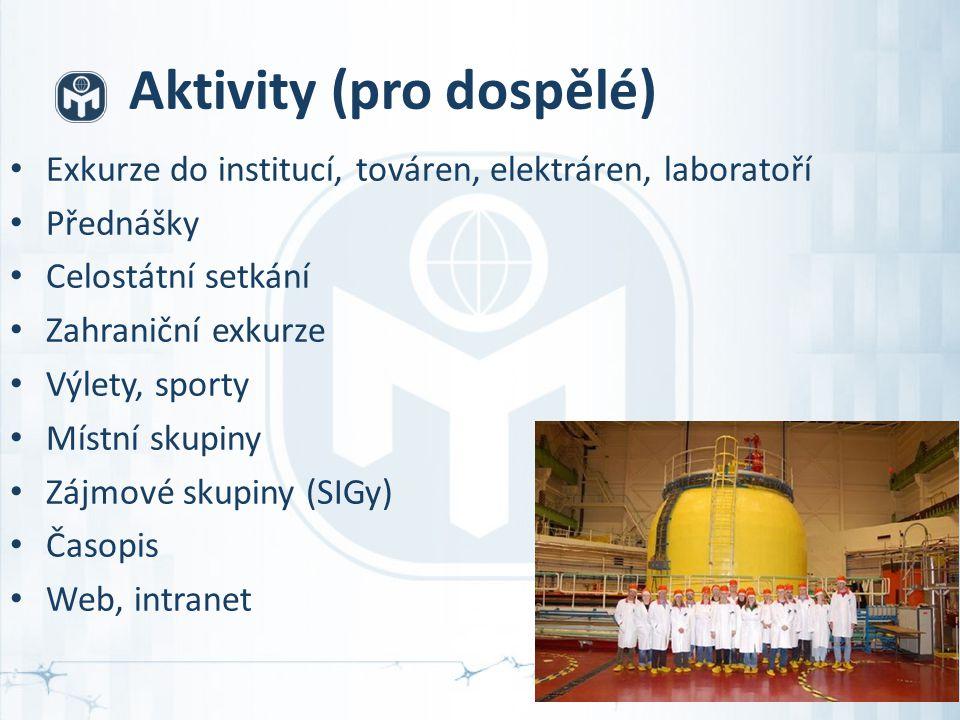 Aktivity (pro dospělé) Exkurze do institucí, továren, elektráren, laboratoří Přednášky Celostátní setkání Zahraniční exkurze Výlety, sporty Místní skupiny Zájmové skupiny (SIGy) Časopis Web, intranet