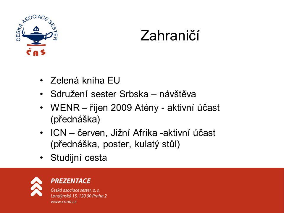 Zahraničí Zelená kniha EU Sdružení sester Srbska – návštěva WENR – říjen 2009 Atény - aktivní účast (přednáška) ICN – červen, Jižní Afrika -aktivní účast (přednáška, poster, kulatý stůl) Studijní cesta