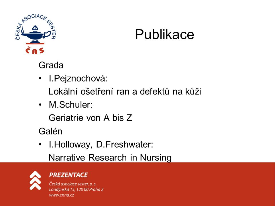 Publikace Grada I.Pejznochová: Lokální ošetření ran a defektů na kůži M.Schuler: Geriatrie von A bis Z Galén I.Holloway, D.Freshwater: Narrative Research in Nursing