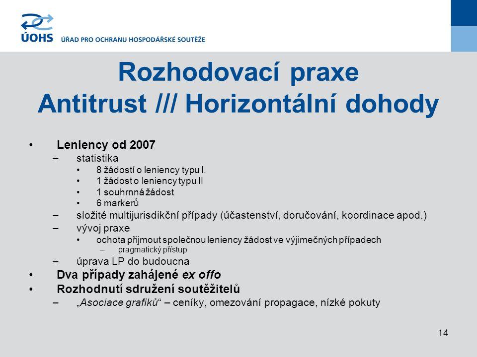 14 Rozhodovací praxe Antitrust /// Horizontální dohody Leniency od 2007 –statistika 8 žádostí o leniency typu I.
