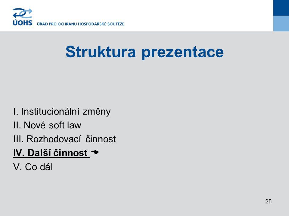 25 Struktura prezentace I.Institucionální změny II.