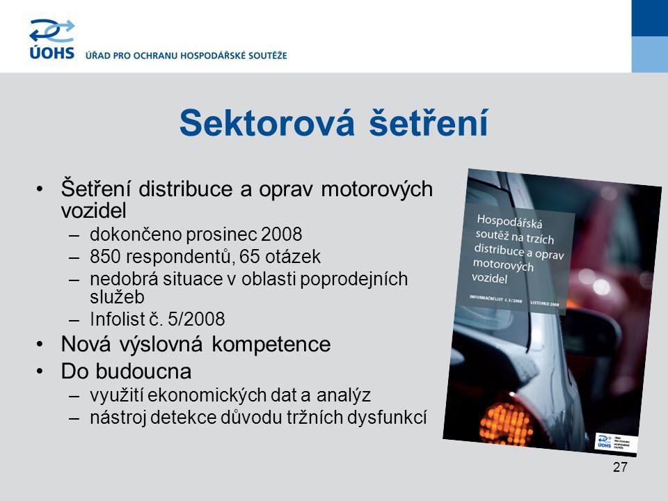 27 Šetření distribuce a oprav motorových vozidel –dokončeno prosinec 2008 –850 respondentů, 65 otázek –nedobrá situace v oblasti poprodejních služeb –Infolist č.